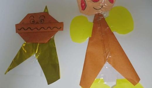 折り紙でアンパンマンとカレーパンマンを作ってから、替え歌を披露してくれました(*^^*)