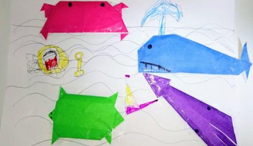 海の生き物たちを折り紙で作ってから風船遊びをしました♪