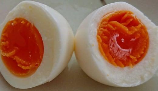 半熟卵とゆで卵を、ゆで水2分の1カップで作ってみました